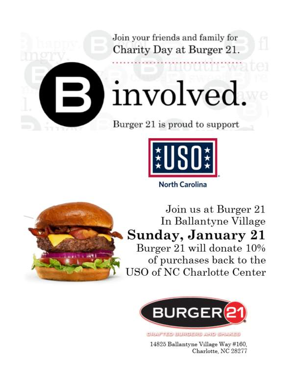 Charlotte - Charity Day at Burger 21 • USO of North Carolina